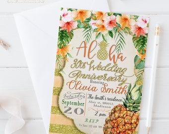 Aloha Wedding Anniversary Invitation / Digital Printable Invite / DIY Party