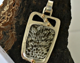 Moroccan coral stone pendant in sterling silver and solid 14K gold accents.