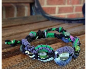 Hemp Bracelet Adjustable Green Purple Rainbow Black Glass Beads