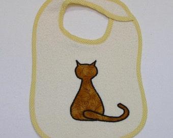 Handmade Baby Bib - Toddler Bib - Sitting Cat - Applique - Terrycloth Toddler Bib