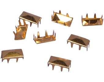 Vintage Gold Metal Rectangle Pyramid Studs - 13mm - 25 Pieces (MS13GOS-25)