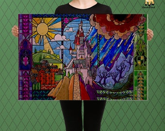 Fairy Tale Art, Beauty and the Beast Inspired, Castle Stained Glass Style Art, Custom Raised Canvas Art Piece