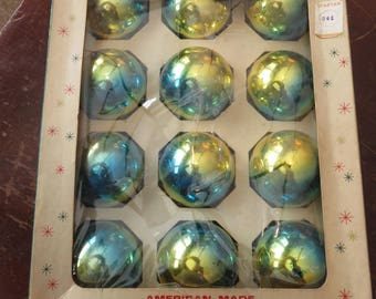Vintage Box of 12 Shiny Brite Blue Gold Glass Christmas Ornaments