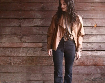 womens brown leather jacket - oversized moto jacket - country western motorcycle apparel - bomber - extra small