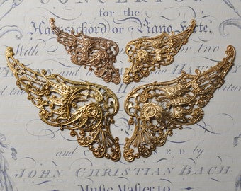 French Angel Wings Findings Raw Brass Stampings Victorian Steampunk Style 1 Set 328 - 331J