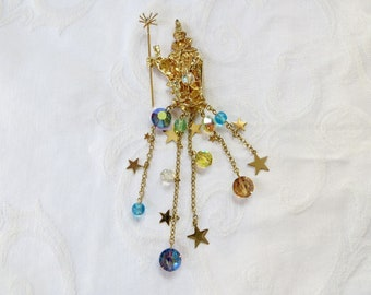 Kirks Folly Wizard Brooch, Celestial Wizard Pin, Moon Stars Crystals, Rhinestone Lizard Owl Figures, Vintage Kirks Folly Jewelry