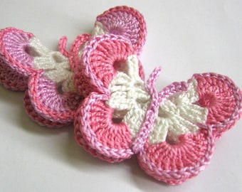 Crocheted Butterfly Appliques 2pc in white pink and lavender, 3 inches wide