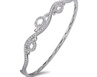 14k White Gold Round Full Cut Diamond Bracelet.