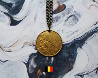 Belgian 5 Francs Handmade Gold Coin Necklace - Antique Gold Iron Chain.