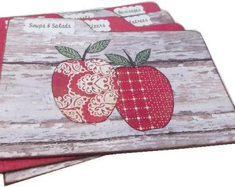 Recipe Tab Dividers Apple Recipe Tabbed Dividers,MADE TO ORDER Coordinates with my Apple Recipe Box 4 x 6 4 by 6 (Set of 6)
