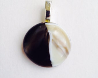Creme & brown with bronze dichroic glass 1 inch round fused glass pendant
