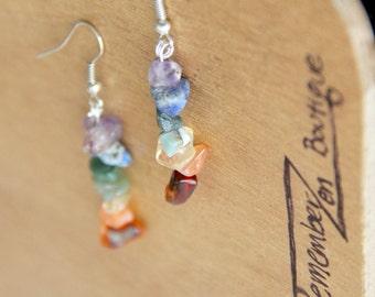 1 INCH Pair Chakra Earring GENUINE Crystal Natural Raw Stone Yoga Jewelry healing jewelry healing crystals