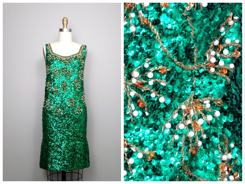ART DECO Emerald Green Sequin Dress / Bright Kelly Green