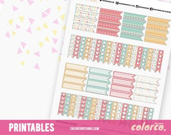 Summer Tribal Checklist and Page flags  Printable Planner Stickers Erin Condren Happy Planner Inkwell Plum Paper Instant Digital Download