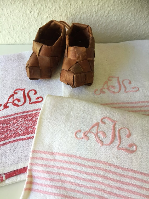set of 3 Vintage/woven/Scandinavian/hand towel/kitchen towel/monogram AJL/pink and white / red and white