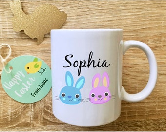 Childrens easter etsy easter bunny mug with name easter gifts for kids childrens easter mug easter keepsake gift personalised negle Image collections