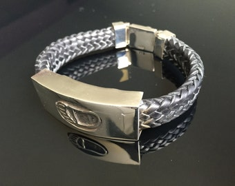Mens .925 Sterling Silver Leather Hopi Bracelet Handmade.