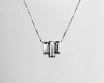 Unique 14k Gold Three Diamond Baguette Necklace