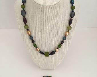 Mixed Colors Necklace, Bracelet & Earrings