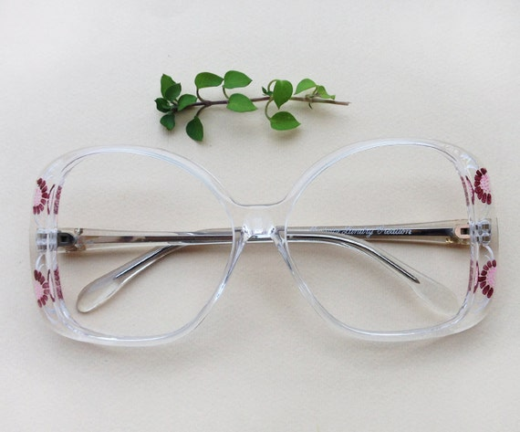 70s French eyeglass / Vintage dead stock hand carved floral