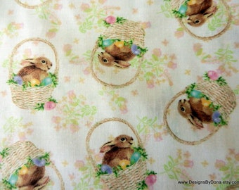 One Yard Cut Quilt Fabric, Easter, Bunnies in Baskets with Decorated Eggs, Creamy Background With Flowers, Quilting-Sewing-Craft Supplies