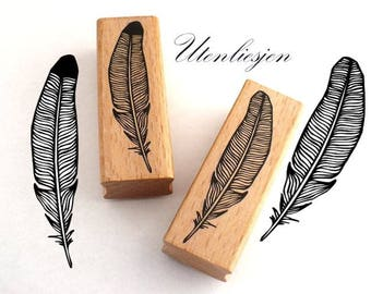 stamp feather, rubber stamp 25 x 80 mm