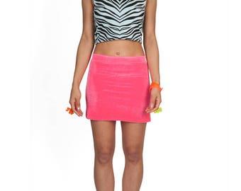Hot Pink Velvet Mini Skirt