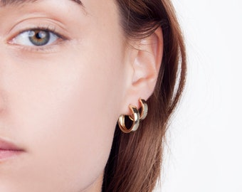 Minimalist hoops - wide hoops - gold hoop earrings - minimalist hoop earrings - medium hoops - minimal hoops - dainty hoop earrings