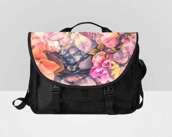 Floral Laptop Bag Messenger Bag Pink