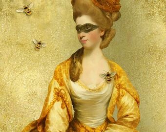 Queen Bee Portrait Print Digital Art Yellow Gold Honey Honeycomb Bumble Bee Surreal Home Decor Insect