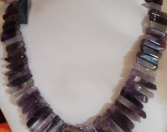 Amethyst Necklace ribbon tie