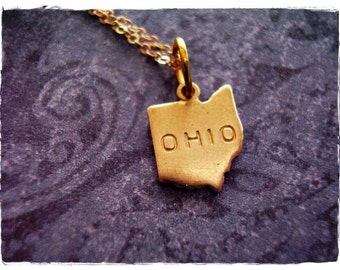 Tiny Gold Ohio State Necklace - Raw Brass Ohio Charm on a Delicate 14kt Gold Filled Cable Chain or Charm Only