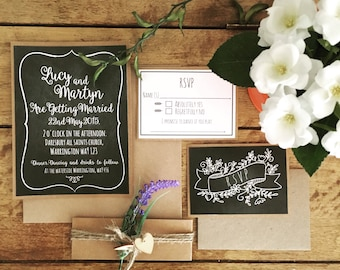 Wedding Invitations, chalkboard, rustic, vintage, invites, belly band, handmade, special occasion, party.