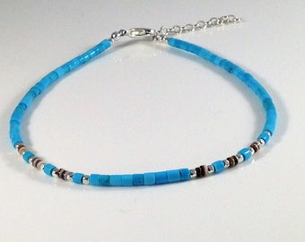 Boho Anklet with Turquoise and Silver//beaded anklet//anklet//boho jewelry//beach jewelry//vacation accessories//festival jewelry//boho chic