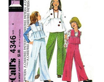Girls Smock Top & Pants Pattern McCalls 4346 Trousers Girls Size 4 Vintage Sewing Pattern
