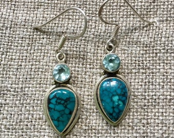 Spiderweb turquoise and topaz earrings