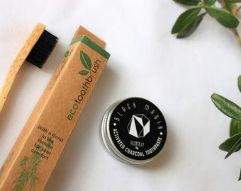 Set: CHARCOAL TOOTHPASTE + Eco TOOBRUSH Bamboo  / Organic Vegan Natural No Nasties Teeth Whitening / Eco Green Sustainable Gift  Set