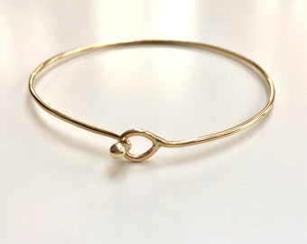 14K SOLID Gold Bracelet with Hook and Eye Clasp - 1.3mm 16 Gauge Thick Wire - Add Charms - Marked 14K
