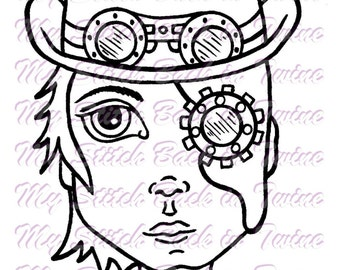 Digital stamp colouring image -  Steampunk boy . jpeg / png