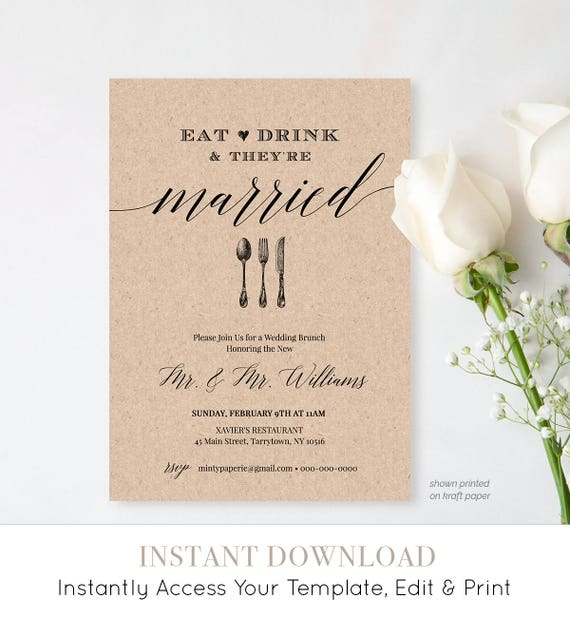Post Wedding Brunch Invitation Template, Printable Brunch Invite, Eat Drink Married, Instant Download, Editable Template, Digital #NC-102BR