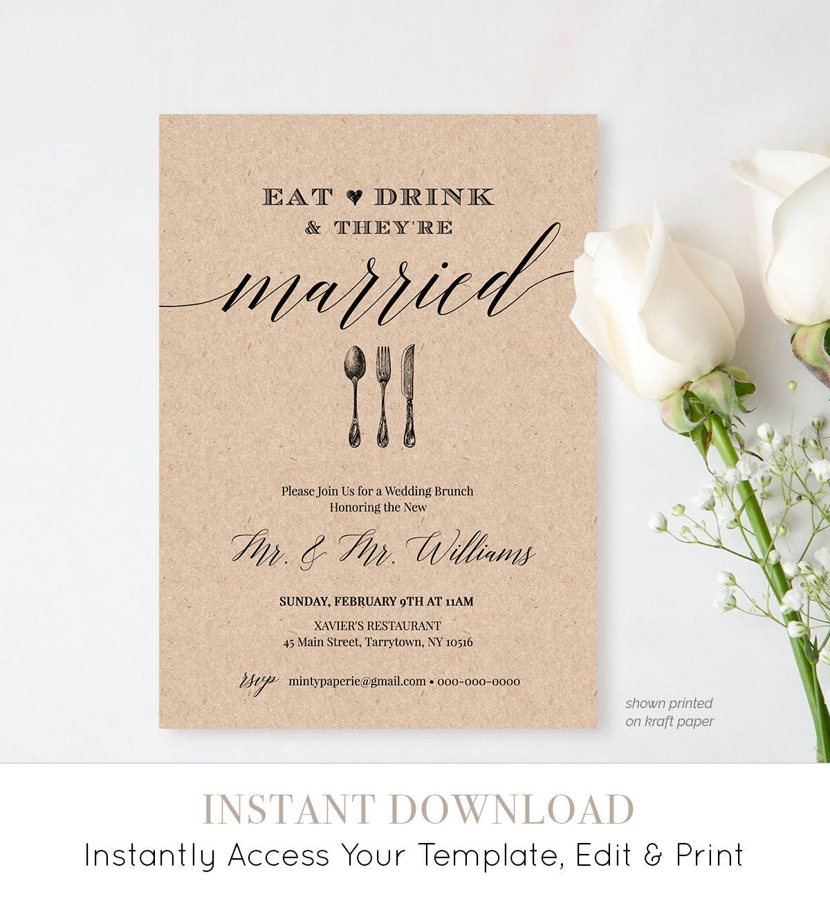 Awesome Post Wedding Brunch Invitation Template, Printable Brunch Invite, Eat Drink  Married, Instant Download, Editable Template, Digital #NC 102BR