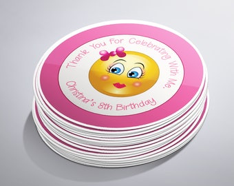 Emoji Stickers, Emoji Party, Emoji Birthday, Emoji Favors, Emoji Labels, Pink Emoji, Emoji's Party Bag, Girl Emoji Party, Emoji Theme Party