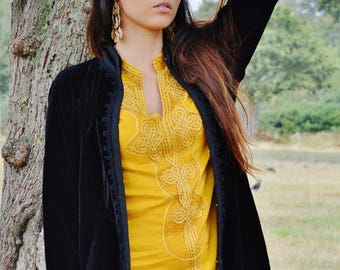 25% OFF Autumn Sale// Black Velvet Luxury Jacket with Black Embroidery-Nadia-bohemian, autumn jacket,  velvet jacket, embroidered jacket
