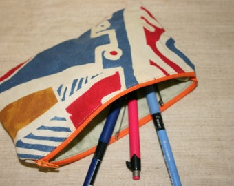 School Pencil case ,Colorful Pouch,Handmade School Pencil case ,Zipper Pouch, Cotton Pouch, Cosmetics Pouch, Travel Pouch