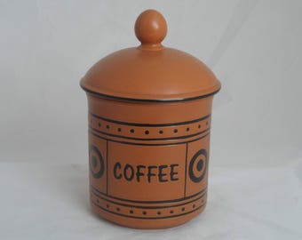 Hornsea Pottery coffee canister. Brown Tobago pattern coffee jar in brown and black. Classic 1980s retro kitchenware