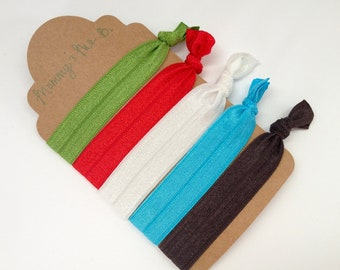 Super Soft No-Snag Elastic Hair Ties -- Holiday Collection -- Red, Green, White, Blue, Grey