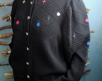 Vintage womens 1960s cardigan black with flowers embroidery jumper Bernauer