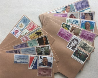 10 Kraft envelopes posted with Vintage US postage stamps - unused blank A2 4x5 ready to mail 1 ounce - art collage