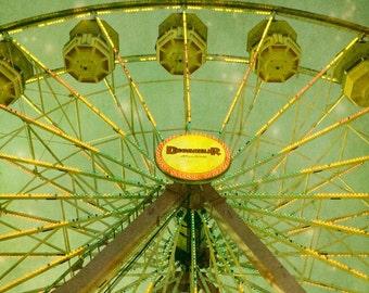 Ferris Wheel Photograph, Carnival Photography, Nursery Print, Kids Room Decor, State Fair Art, Green Nursery Decor, Home Decor - Star Gazing