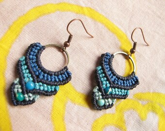 Earrings 4 shades of blue by TohyaArtisanat